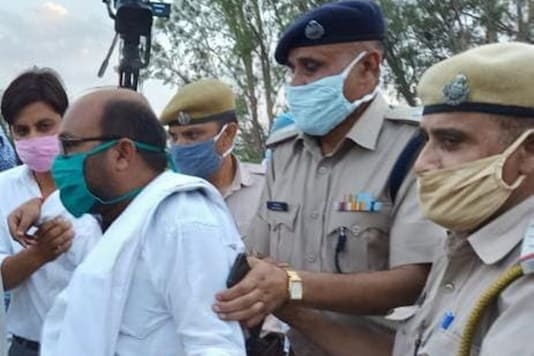 UP Congress chief Ajay Kumar Lallu was first arrested by Agra Police. (Image: Twitter/@@INCUttarPradesh)