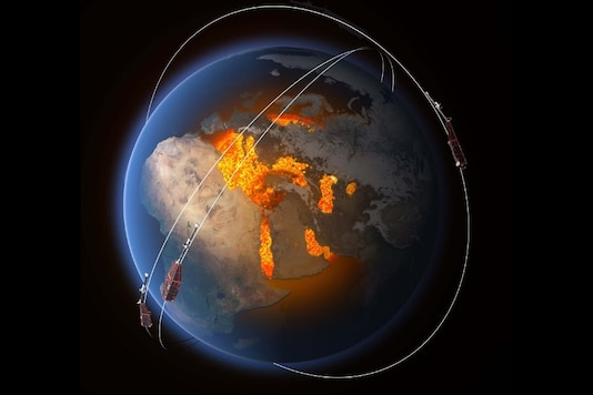Scientists are using data from ESA's Swarm constellation to improve our understanding of this area known as the 'South Atlantic Anomaly.' (Image: ESA)