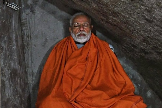 File photo: Prime Minister Narendra Modi meditates in a cave in Kedarnath during his holy trip in 2019.