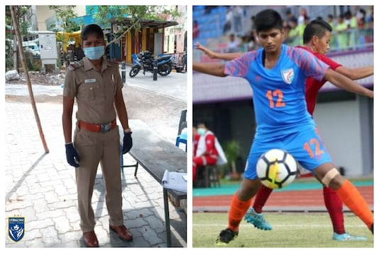 Indumathi was spotted performing her police duties amid coronavirus pandemic (Photo Courtesy AIFF & supermachans Insta Page)