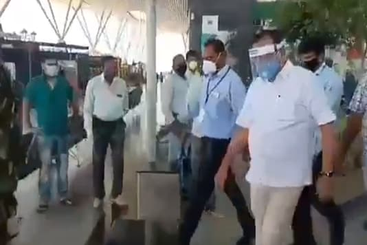 Union Minister Sadananda Gowda left in his car after arriving at Bengaluru airport.