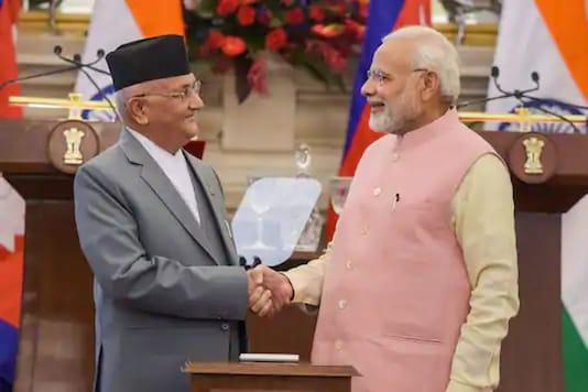 File photo of Prime Minister Narendra Modi with his Nepalese counterpart Khadga Prasad Oli. (PTI Photo/ File)