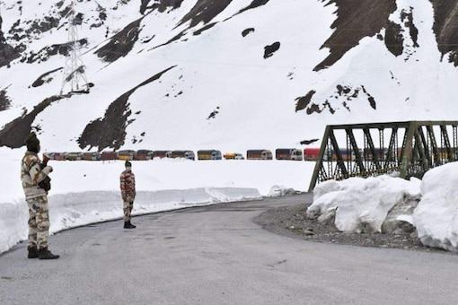 File photo of ITBP troops stationed along the Srinagar-Leh national highway.