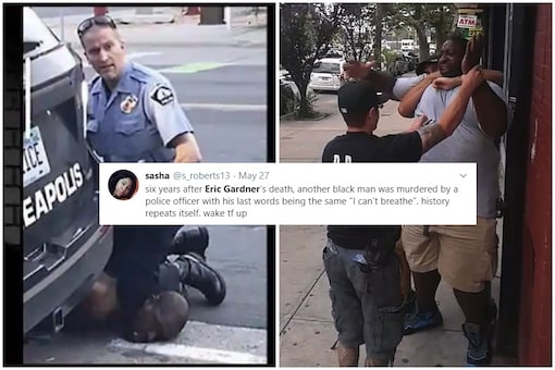 George Floyd's last words were the same as Eric Gardener while both were choked to death by cops, six years apart   Image credit: Twitter