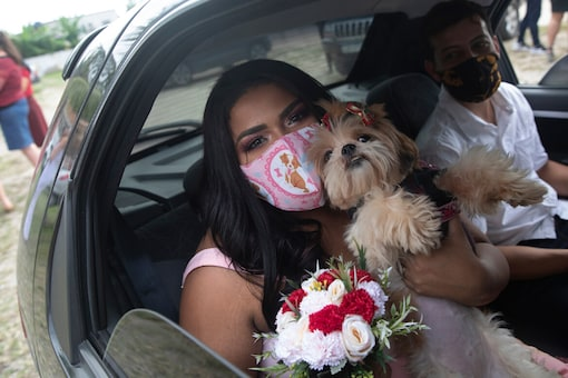 Wearing masks to prevent the spread of the new coronavirus, Erica da Conceicao and Joao Blank ride in the back seat of a car for a drive-thru wedding at the registry office in the neighborhood of Santa Cruz, Rio de Janeiro, Brazil, Thursday, May 28, 2020. (AP Photo/Silvia Izquierdo)