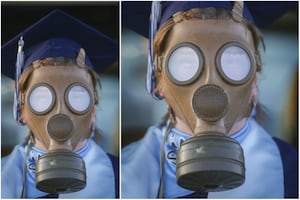 Student Dons Gas Mask For His Graduation Ceremony; Pics Go Viral