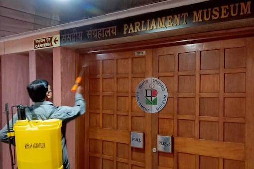 Sanitisation of all indoor and outdoor areas, individual offices, restrooms and common areas takes place at the Lok Sabha Secretariat.