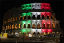 Rome's Colosseum Lights Up with Colours of Italian Flag