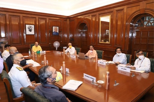 Union Home Minister Amit Shah held review meeting with senior officials of NDMA, NDRF, IMD and Indian Coast Guard on Monday, June 1. (Twitter: @HMOIndia)