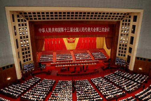 File photo of Chinese officials and delegates attending the opening session of the National People's Congress (NPC) at the Great Hall of the People in Beijing. (Reuters)