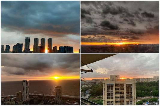 Combination photo of images of Mumbai skies shared on Twitter.