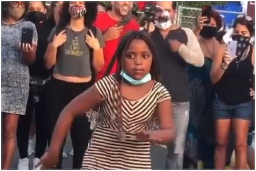 The girl was one of the protesters agitating against the killing of George Floyd   Image credit: Twitter