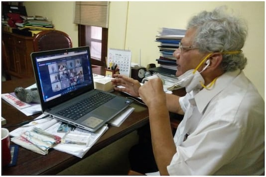 Sitaram Yechury attens the first CPI(M) polit bureau meeting on Wednesday via video conferencing | Image credit: Twitter