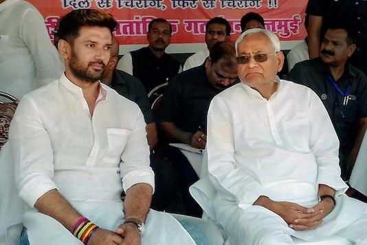 File photo of LJP chief Chirag Paswan with Bihar CM Nitish Kumar. (PTI)