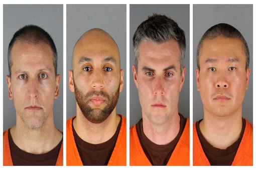 This combination of photos provided by the Hennepin County Sheriff's Office in Minnesota shows Derek Chauvin, from left, J. Alexander Kueng, Thomas Lane and Tou Thao. (AP)