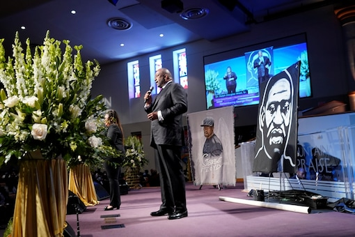 Pastor Ralph Douglas West, Sr., speaks during funeral service for George Floyd at The Fountain of Praise church in Houston, Texas, U.S., June 9, 2020. David J. Phillip/Pool via REUTERS - RC2V5H9RKD27