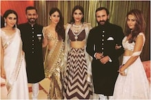 When Kareena, Karisma Kapoor and Saif Ali Khan Posed with Sonam and Anand Ahuja at Their Wedding Reception
