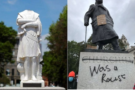 Photo of Columbus and Churchill statues/ Twitter