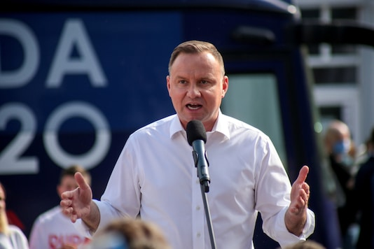 Poland's President Andrzej Duda speaks during his election meeting in Solec Kujawski, Poland, June 9, 2020. Grazyna Marks/Agencja Gazeta via REUTERS