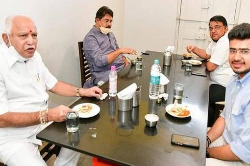 Karnataka CM BS Yediyurapa with revenue minister R Ashoka and Bengaluru South MP Tejaswi Surya at the iconic Mavalli Tiffin Room in Bengaluru on Saturday.