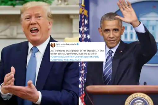 File images of Trump and Obama.