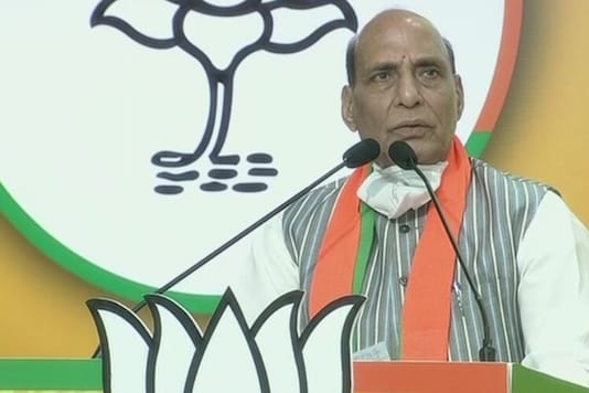 Rajnath Singh during the speech. (Credits: ANI)