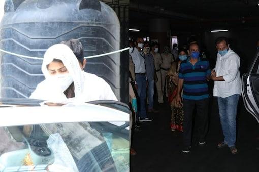 Rhea Chakraborty (L), Sushant Singh's family (R)