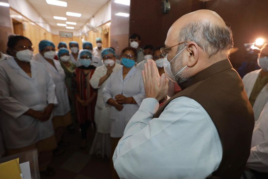 Union Home Minister Amit Shah visited the Lok Nayak Jai Prakash (LNJP) Hospital in Delhi around 04:00 pm, to review it preparedness for Covid-19 cases. (Image: Special Arrangement)