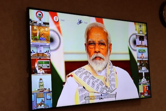 File photo of Prime Minister Narendra Modi during a virtual meeting with CMs.