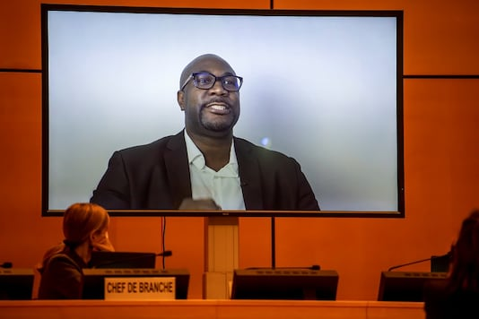 George Floyd's brother, Philonise Floyd, speaks (via video message) during an urgent debate at UN Human Rights Council.  (Credit: REUTERS)