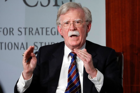 In this September 30, 2019, file photo, former national security adviser John Bolton gestures while speaking at the Center for Strategic and International Studies in Washington. (AP Photo/Pablo Martinez Monsivais, File)