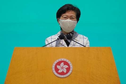 Hong Kong Chief Executive Carrie Lam listens to reporters' questions during a press conference in Hong Kong, Tuesday, (AP Photo/Vincent Yu)