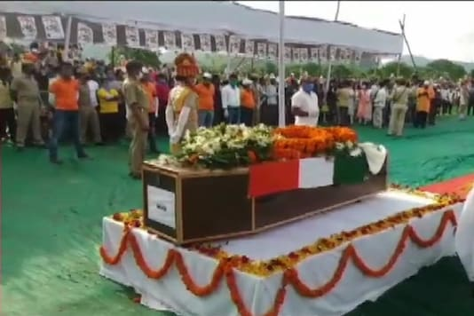Sepoy Chandrakanta Pradhan who lost his life in action in Galwan Valley, being laid to rest in Odisha's Kandhamal. (Image: ANI)