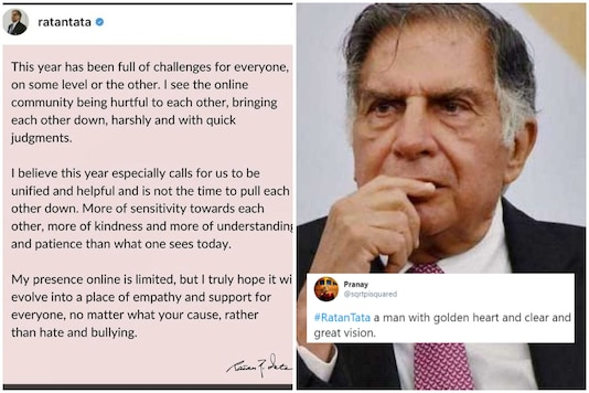 'Not the time to oull each other down,' Ratan Tata wrote in a heartfelt post on Instagram | Image credit: Twitter/PTI