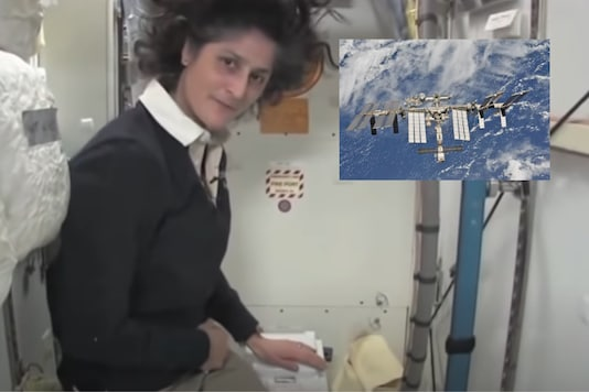 Astronaut Sunita Williams gives a tour of the toilet facilities on the space station . File image by NASA.