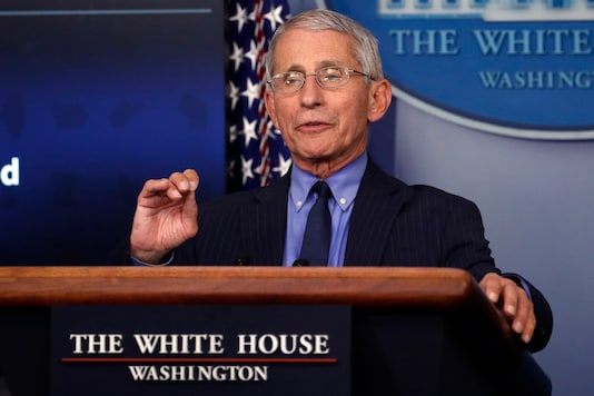 FILE - In this April 17, 2020, file photo, Dr. Anthony Fauci, director of the National Institute of Allergy and Infectious Diseases, speaks about the coronavirus in the James Brady Press Briefing Room of the White House in Washington. Fauci returns to Capitol Hill on June 23, at a fraught moment for the nation's pandemic response. (AP Photo/Alex Brandon, File)