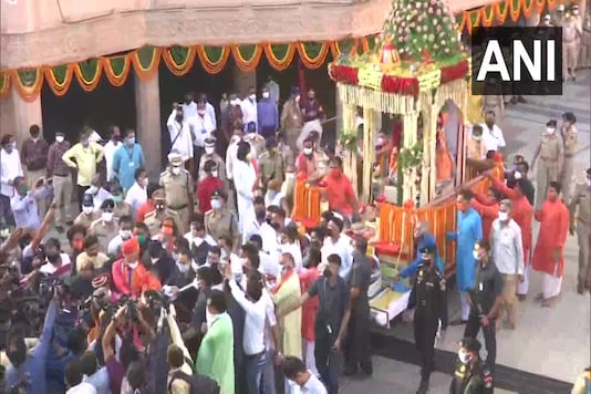 After the ritual, three chariots began a symbolic yatra without the usual festivities inside the premises of the Lord Jagannath temple in Jamalpur area of the city.