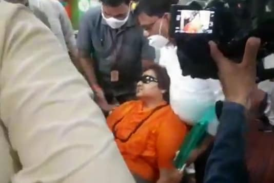 Pragya Thakur fainted during a BJP event in Bhopal on Tuesday. (IANS)