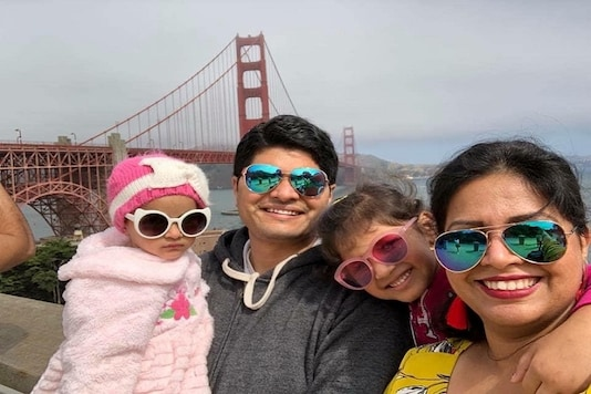 Poorva Dixit and her Kaustubh Talathi pose for a photo with their children in San Francisco, California, US, in this undated handout photo. (Poorva Dixit/Handout via REUTERS)