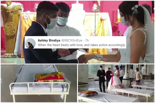 Maharashtra couple have been earning praise online for donating beds for COVID-19 patients on their wedding day | Image credit: Twitter/ANI
