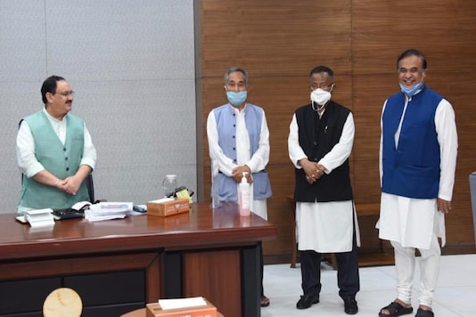 Himanta Biswa Sarma and the MLAs with JP Nadda.