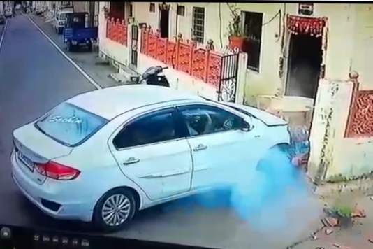 Shocking CCTV Video Captures Elderly Woman Killed Outside Her Home by Out of Control Car