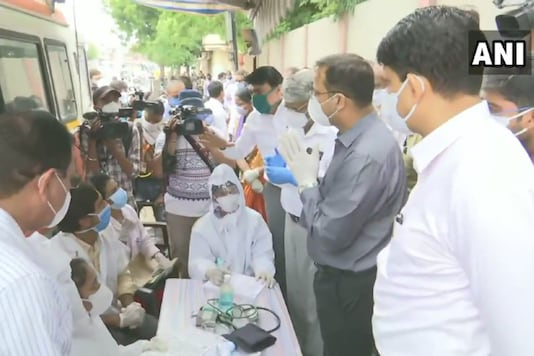 The Central Health Team led by Lav Agarwal, Jt Secretary, Ministry of Health visits Ghatlodia area in Ahmedabad, Gujarat. (Image: PTI)