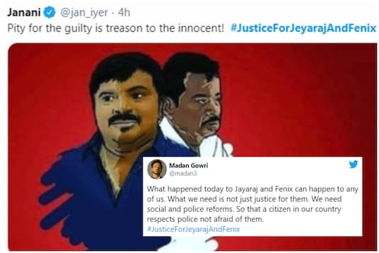 Outrage on social media after the custodial death of two traders Jeyaraj P and J Benicks in Tuticorin, Tamil Nadu | Image credit: Twitter
