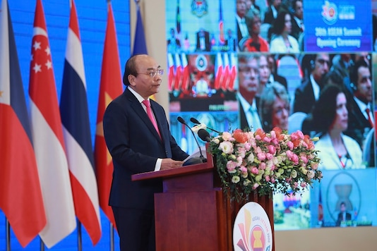Vietnamese Prime Minister Nguyen Xuan Phuc delivers a speech at the opening ceremony of the 36th ASEAN Summit in Hanoi, Vietnam on Friday. (AP Photo/Hau Dinh)