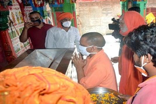 UP CM Yogi Adityanath at the Ram temple site in Ayodhya on Sunday. (Image credit: Twitter@myogiadityanath)