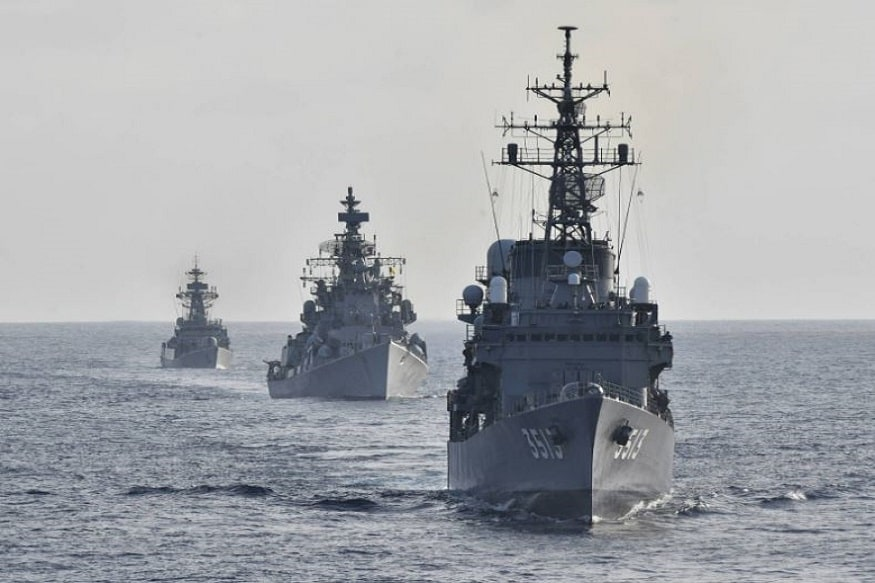 The Indian navy's training vessels INS Rana and INS Kulish conducted a drill with Japan's JS Kashima and JS Shimayuki. (Photo: Twitter/@jmsdf_pao_