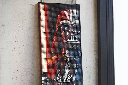 A triple-size poster of Star Wars villain, Darth Vader. (Image: Lego)