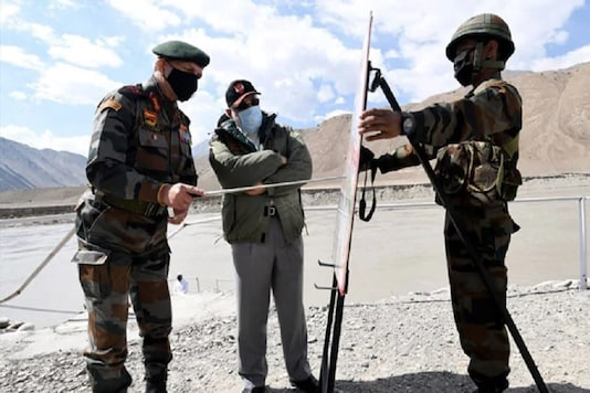 PM Narendra Modi is briefed by armed forces at one of the forward locations in Nimu, Ladakh.