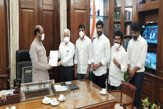 The YSR Congress lawmakers meeting the Speaker in Delhi.